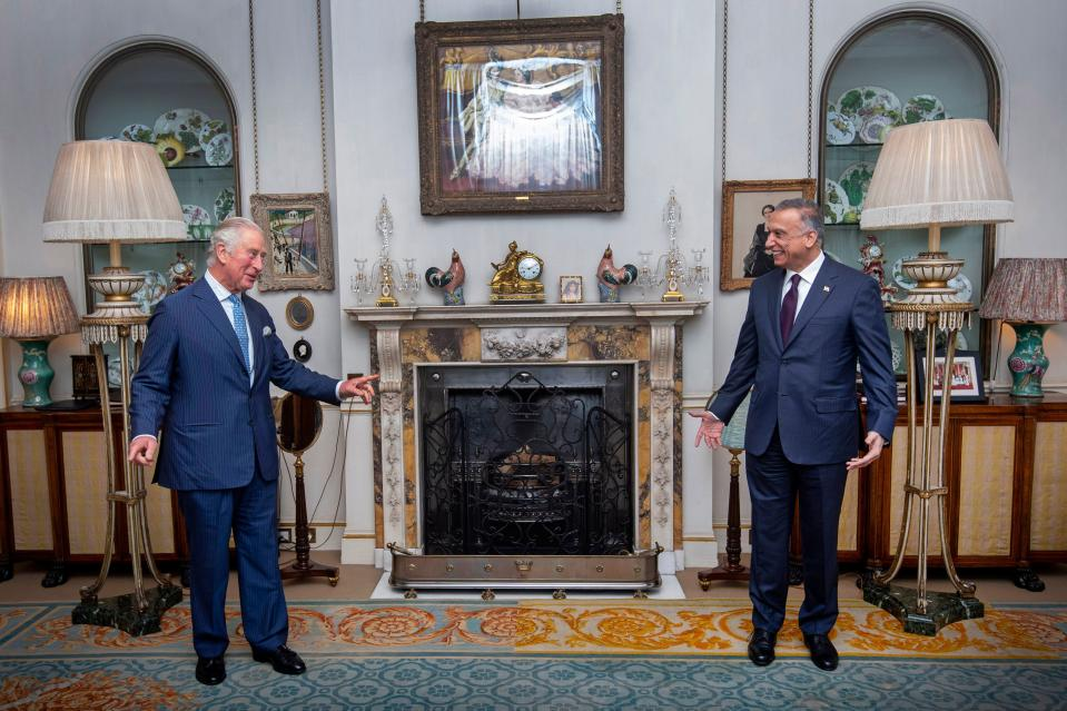 Britain's Prince Charles, Prince of Wales (R) meets with Iraqi Prime Minister Mustafa al-Kadhemi at Clarence House, central London on October 22, 2020. (Photo by Victoria Jones / POOL / AFP) (Photo by VICTORIA JONES/POOL/AFP via Getty Images)