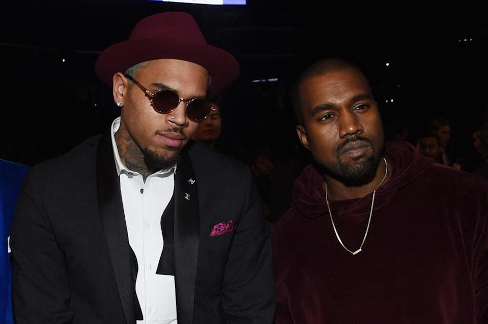 Sweeter, simpler times: Chris Brown (left) and Kanye West (right) attend the 57th annual Grammy Awards in Feb. 2015 in Los Angeles. (Photo by Larry Busacca/Getty Images for NARAS)