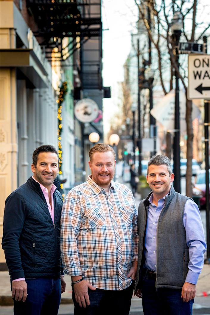 Thunderdome restaurant group co-founders/owners John Lanni, Alex Blust and Joe Lanni pose for a portrait on Vine Street in Over-the-Rhine on Thursday, Dec. 5, 2019. Thunderdome is opening Pepp & Dolores on Vine Street this month.