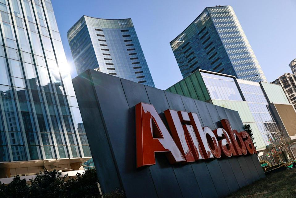 The logo of Alibaba is seen at its office in Beijing, China, on January 5, 2021. Photo: Reuters