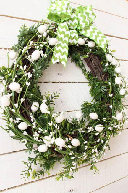 """<p>This simple Easter wreath comes together in just five minutes—using supplies sourced from the dollar store.</p><p><strong>Get the tutorial at <a href=""""https://thehappyhousie.porch.com/five-minute-dollar-store-diy-spring-easter-wreath/"""" rel=""""nofollow noopener"""" target=""""_blank"""" data-ylk=""""slk:The Happy Housie"""" class=""""link rapid-noclick-resp"""">The Happy Housie</a>.</strong> </p><p><a class=""""link rapid-noclick-resp"""" href=""""https://www.amazon.com/Bulk-Buy-Darice-Grapevine-Wreath/dp/B0033M0HG4?tag=syn-yahoo-20&ascsubtag=%5Bartid%7C10050.g.4088%5Bsrc%7Cyahoo-us"""" rel=""""nofollow noopener"""" target=""""_blank"""" data-ylk=""""slk:SHOP GRAPEVINE WREATHS"""">SHOP GRAPEVINE WREATHS</a><strong><br></strong></p>"""
