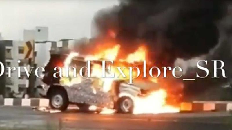 Mahindra Prototype Testing Ends After Car Goes Up In Flames