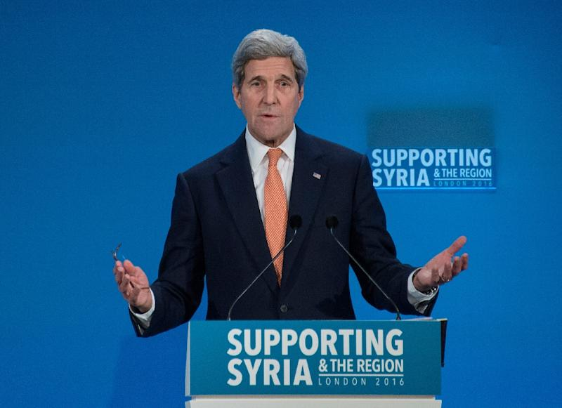 US Secretary of State John Kerry addresses delegates at a donor conference entitled 'Supporting Syria & The Region' at the QEII Centre in central London on February 4, 2016 (AFP Photo/Nicholas Kamm)