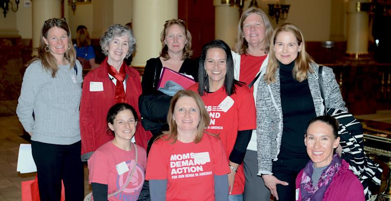 Some of the 400 members of Moms Demand Action at the Colorado State Capitol on Monday.