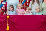 Princess Charlotte, Savannah Philips, Prince George and Isla Phillips stealing the show during Trooping the Colour ceremony. (PA Images)