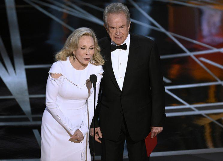 Faye Dunaway, left, and Warren Beatty present the award for best picture at the Oscars on Sunday, Feb. 26, 2017, at the Dolby Theatre in Los Angeles. (Photo: Chris Pizzello/Invision/AP)<br>