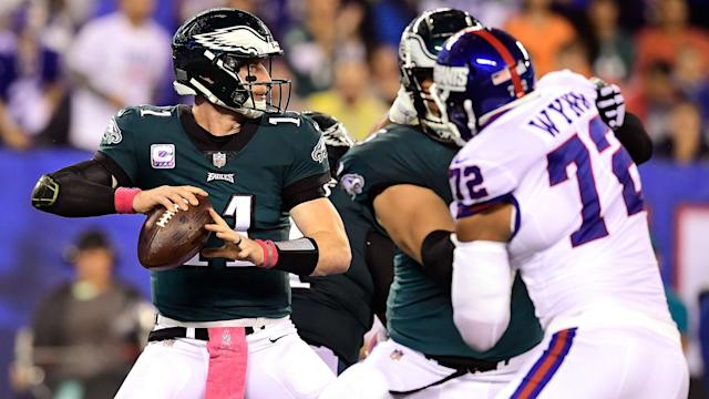 Carson Wentz led the way as the Philadelphia Eagles accounted for the New York Giants 34-13 on Thursday.