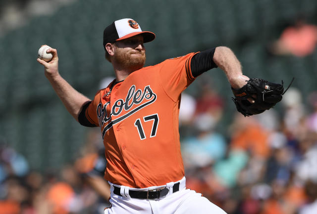 Baltimore Orioles starting pitcher Alex Cobb delivers a pitch during the first inning of a baseball game against the Miami Marlins, Saturday, June 16, 2018, in Baltimore. (AP Photo/Nick Wass)