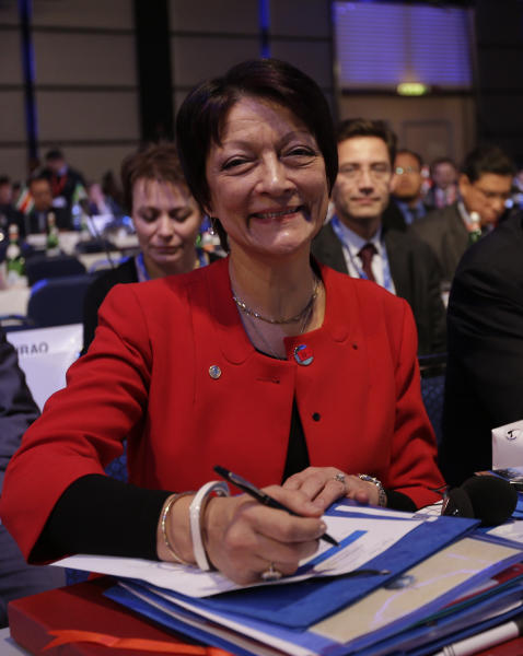 Newly named Interpol president Mireille Balestrazzi smiles to photographers during the closing session of the 81st Interpol General Assembly, in Rome, Thursday, Nov. 8, 2012. The 81st session of the general assembly of the Interpol closed with the election of its first female president, the France's Mireille Ballestrazzi. (AP Photo/Alessandra Tarantino)