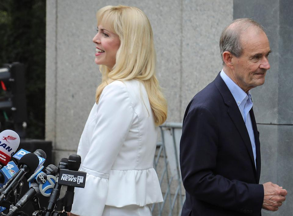 Law partners Sigrid McCawley and David Boies, representing accusers, talk to the media after a hearing in Manhattan in July 2019 about the arrest of financier Jeffrey Epstein on sex trafficking charges.