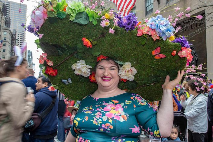 Lora Bopp of Mount Vernon during the Easter Parade and Bonnet Festival, Sunday, April 21, 2019, in New York. (Photo: Gordon Donovan/Yahoo News)