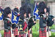<p>The Argyll and Sutherland Highlanders march at the ceremony.</p>