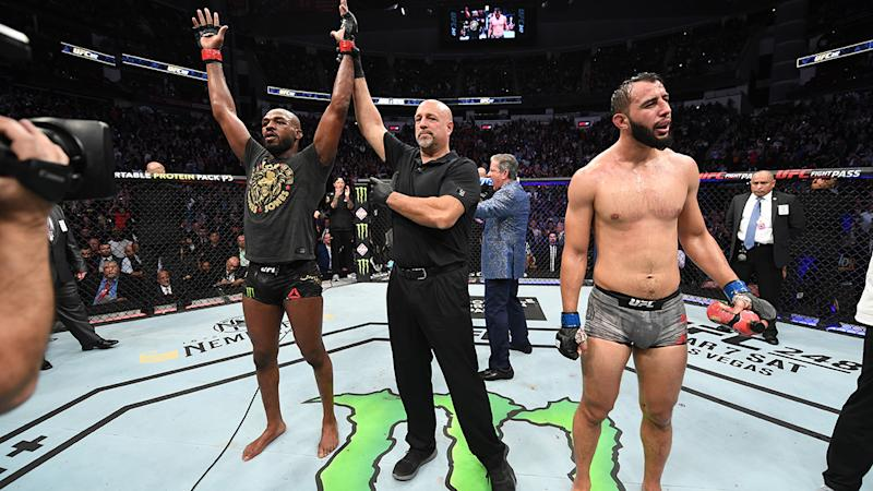 Jon Jones, pictured here celebrating his victory over Dominick Reyes at UFC 247.