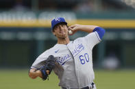 Kansas City Royals relief pitcher Foster Griffin throws during a baseball game against the Detroit Tigers, Monday, July 27, 2020, in Detroit. (AP Photo/Carlos Osorio)