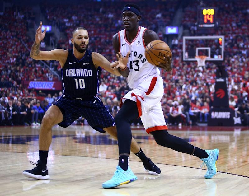 Toronto Raptors Pascal Siakam (R) scored a playoff-career best 30 points in game three of a first round playoff series against the Orlando Magic