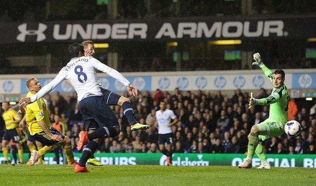 Harry Kane guided home a cross from Christian Eriksen ahead of team-mate Paulinho to get off the mark in the Premier League in a 5-1 victory over Sunderland towards the end of the 2013-14 season