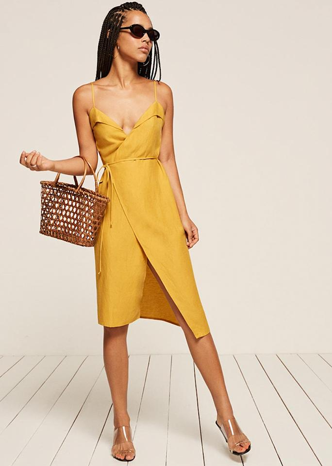 """Reformation Cruz Dress in Sunflower, $178; at <a rel=""""nofollow"""" href=""""https://www.thereformation.com/products/cruz-dress-sunflower"""" rel="""""""">Reformation</a>"""
