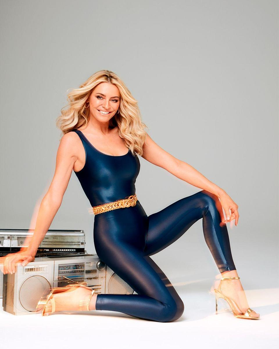 """<p>Not one to let a national lockdown derail her fitness goals, Tess Daly has continued her training sessions with PT <a href=""""https://www.instagram.com/supersamfitness/"""" rel=""""nofollow noopener"""" target=""""_blank"""" data-ylk=""""slk:Sam Shaw"""" class=""""link rapid-noclick-resp"""">Sam Shaw</a>, her go-to for four years. They do a mix of interval-style training and weight lifting to keep Tes strong for the many, many plates she spins. </p>"""