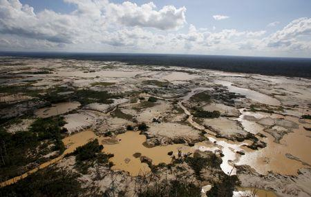 An area deforested by illegal gold mining is seen in a zone known as Mega 14, in the southern Amazon region of Madre de Dios