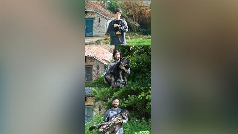 Man Recreates Childhood Photo With Dog for 15 Years to Honor His 'Best Pal'