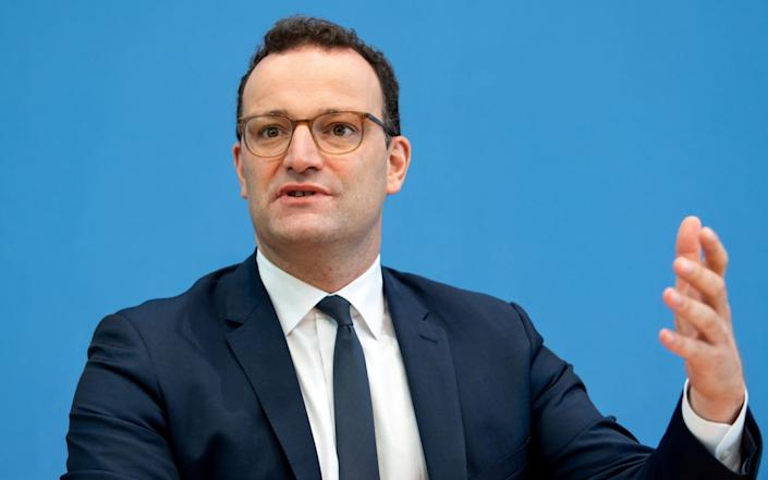 German Health Minister Jens Spahn attends a news conference to give an update on a smartphone app that allows users to evaluate their risk of being exposed to the coronavirus in Berlin - Bernd von Jutrczenka/Pool via Reuters/File Photo