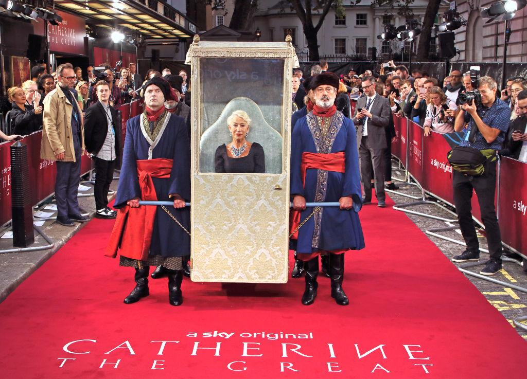 Dame Helen Mirren arrived in style to the premiere of her latest drama 'Catherine the Great' [Photo: Getty]