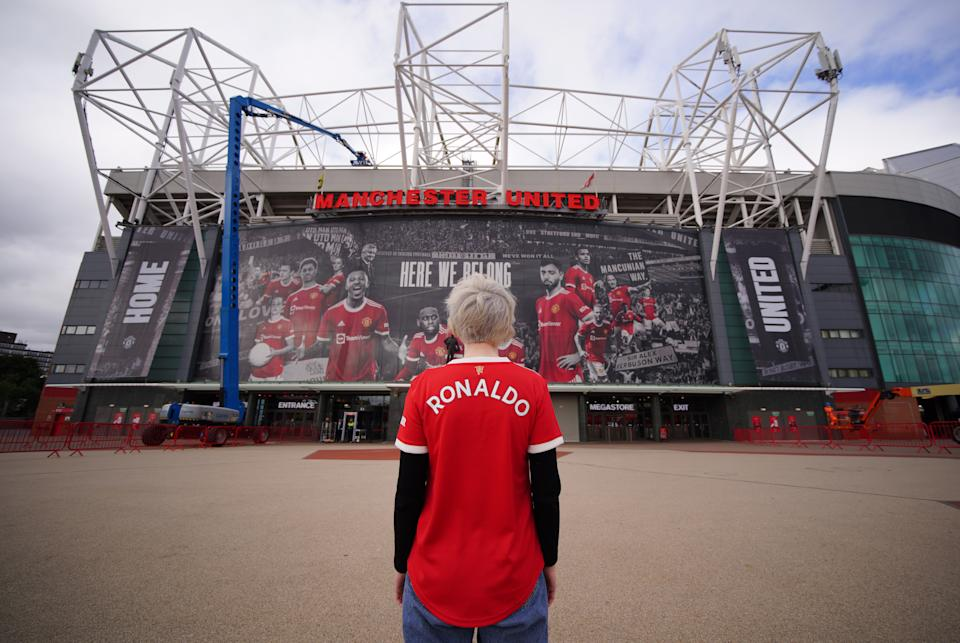 Manchester United fan Martha Quinn outside Old Trafford with a 'Ronaldo' shirt after Manchester United completed the signing of Cristiano Ronaldo on a two-year contract from Juventus. Picture date: Tuesday August 31, 2021. (Photo by Peter Byrne/PA Images via Getty Images)