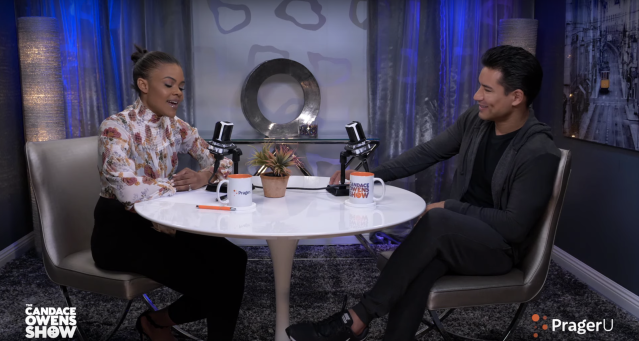 "Mario Lopez and Candace Owens discussed Hollywood's ""weird trend"" of accepting transgender children as they are. (Photo: YouTube/<em>Candace Owens Show</em>/Prager U)"