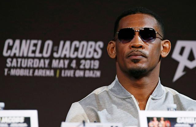 Daniel Jacobs attends a news conference May 1, 2019, for his middleweight title boxing match against Canelo Alvarez in Las Vegas. The two are scheduled to fight Saturday in Las Vegas. (AP Photo/John Locher)