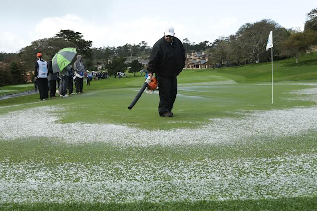 We can't remember the last time we saw players and caddies make snow angels and throw snowballs at a PGA Tour event, but it happened at Pebble on Sunday