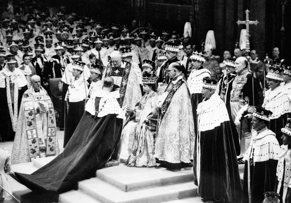 File photo dated 2/6/1953 of the Duke of Norfolk, the Earl Marshall, paying homage to Queen Elizabeth II after her coronation at Westminster Abbey. Issue date: Friday April 9, 2021.