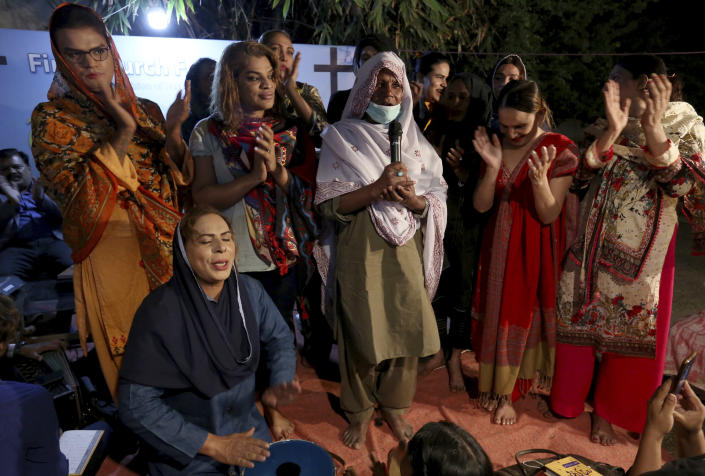 Transgender people attend a prayer service at Pakistan's first church for transgender worshippers, in Karachi, Pakistan, Friday, Nov. 13, 2020. Transgender Pakistanis are often mocked, abused and bullied, and Christians among them are a minority within a minority, often shunned even in churches. (AP Photo/Fareed Khan)