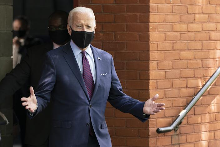Democratic presidential candidate former Vice President Joe Biden arrives to speak at an event about affordable healthcare at the Lancaster Recreation Center on June 25, 2020 in Lancaster, Pennsylvania.