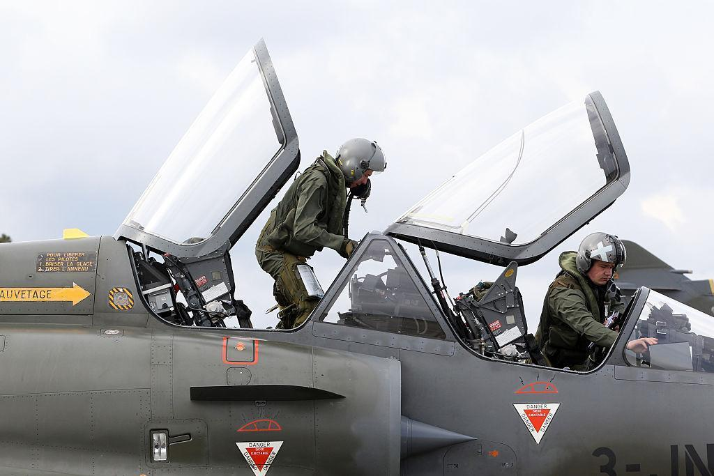 French pilots carry out a drill during a NATO training exercise in Corsica on 17 March 2016: AFP/Getty Images