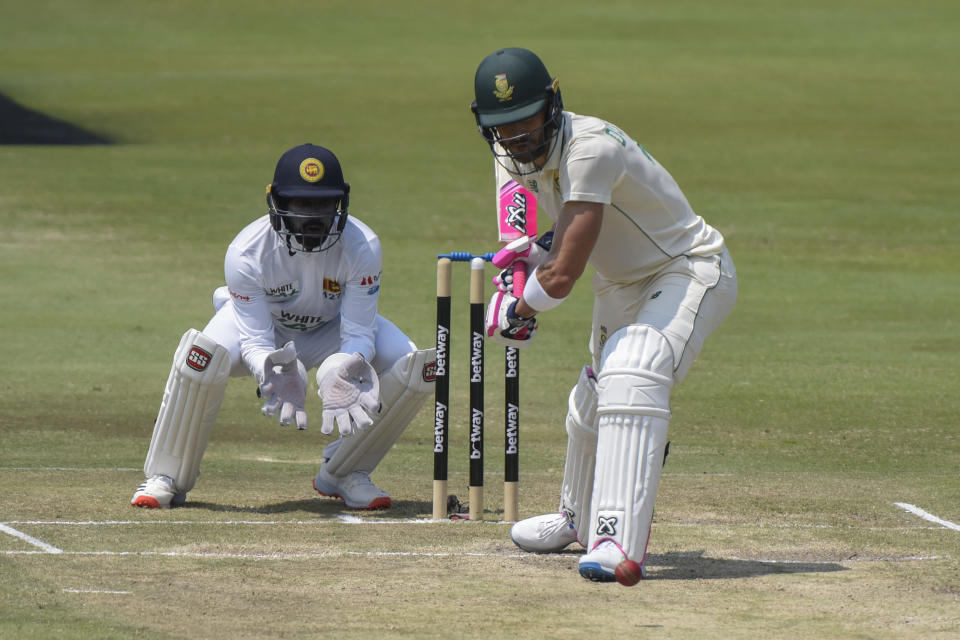 South Africa's Faf du Plessisa plays a shot on day three of the first cricket test match between South Africa and Sri Lanka at Super Sport Park Stadium in Pretoria, South Africa, Monday, Dec. 28, 2020. (AP Photo/Catherine Kotze)