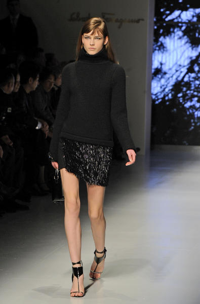A model wears a creation for Ferragamo women's Fall-Winter 2013-14 collection, part of the Milan Fashion Week, unveiled in Milan, Italy, Sunday, Feb. 24, 2013. (AP Photo/Giuseppe Aresu)