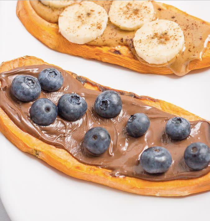 "<strong>Get the <a href=""http://www.familyfoodonthetable.com/sweet-potato-toast/"" rel=""nofollow noopener"" target=""_blank"" data-ylk=""slk:Nutella And Blueberry Sweet Potato Toast recipe"" class=""link rapid-noclick-resp"">Nutella And Blueberry Sweet Potato Toast recipe</a> from&nbsp;Family Food On The Table</strong>"