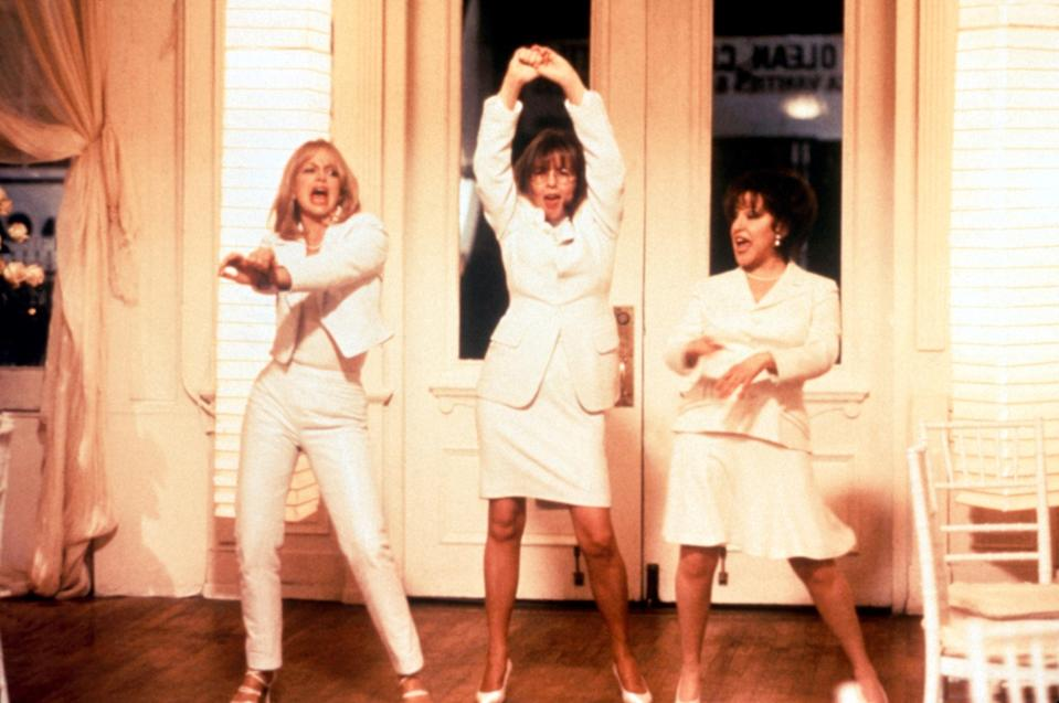 "<p>Bette Midler, Diane Keaton, and Goldie Hawn star as three women who get delicious revenge on their scummy ex-husbands. If you're not dancing around your living room singing Lesley Gore's ""You Don't Own Me"" after you see <em>The First Wives Club</em>, then you're watching it wrong. </p> <p><a href=""https://www.netflix.com/title/506464"" rel=""nofollow noopener"" target=""_blank"" data-ylk=""slk:Available to stream on Netflix."" class=""link rapid-noclick-resp""><em>Available to stream on Netflix.</em></a></p>"