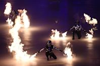 <p>Artists perform during the opening ceremony of the Pyeongchang 2018 Winter Olympic Games at the Pyeongchang Stadium on February 9, 2018. / AFP PHOTO / Jonathan NACKSTRAND </p>
