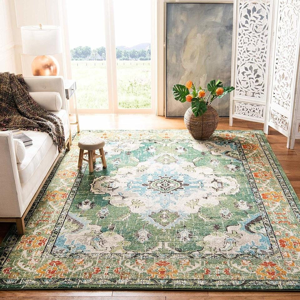 """Made to be stain-resistant and non-shedding, this rug is perfect for realists who want a lovely rug designed for the slips, stains, and spills that happen when you let your family actually live in the living room.<br /><br /><strong>Promising review</strong>: """"I love it! I bought this to replace a smaller rug I had in the space. This has nice, vivid colors. I definitely needed the<a href=""""https://www.amazon.com/dp/B01HN7T2WE?tag=bfmal-20&ascsubtag=5854435%2C24%2C37%2Cd%2C0%2C0%2Cgoogle%2C962%3A1%3B901%3A2%3B900%3A2%3B974%3A2%3B975%3A2%3B982%3A2%3B994%3A1%2C16323394%2C0"""" target=""""_blank"""" rel=""""nofollow noopener noreferrer"""" data-skimlinks-tracking=""""5854435"""" data-vars-affiliate=""""Amazon"""" data-vars-asin=""""B01HN7T2WE"""" data-vars-href=""""https://www.amazon.com/dp/B01HN7T2WE?tag=bfmal-20&ascsubtag=5854435%2C24%2C37%2Cmobile_web%2C0%2C0%2C16323394"""" data-vars-keywords=""""cleaning"""" data-vars-link-id=""""16323394"""" data-vars-price="""""""" data-vars-product-id=""""18791209"""" data-vars-product-img=""""https://m.media-amazon.com/images/I/616igGi+n8L.jpg"""" data-vars-product-title=""""Rug Pad USA, 1/4"""" Thickness, 3'x5', Eco Plush Felt Rug Pads- Preserve Rug, Protect Floor"""" data-vars-retailers=""""Amazon"""">felt pad</a>I ordered under it due to how thin it is, but so did my last rug. This is a lovely rug at a nice price, and I did some serious looking around before making this purchase."""" —<a href=""""https://www.amazon.com/gp/customer-reviews/R1KJ4P7WNMJGG1?&linkCode=ll2&tag=huffpost-bfsyndication-20&linkId=03632241bfb9c3dd56f83c786fed76c3&language=en_US&ref_=as_li_ss_tl"""" target=""""_blank"""" rel=""""nofollow noopener noreferrer"""" data-skimlinks-tracking=""""5854435"""" data-vars-affiliate=""""Amazon"""" data-vars-href=""""https://www.amazon.com/gp/customer-reviews/R1KJ4P7WNMJGG1?tag=bfmal-20&ascsubtag=5854435%2C24%2C37%2Cmobile_web%2C0%2C0%2C16324217"""" data-vars-keywords=""""cleaning"""" data-vars-link-id=""""16324217"""" data-vars-price="""""""" data-vars-product-id=""""20942014"""" data-vars-product-img="""""""" data-vars-product-title="""""""" data-vars-retailers=""""Amazon"""">An"""