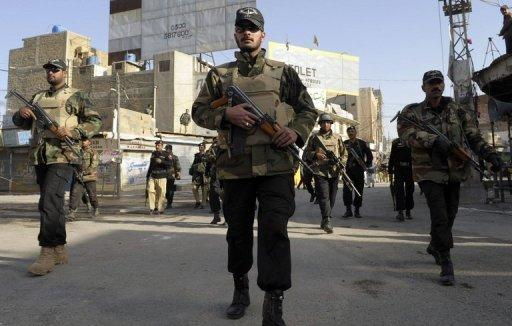 Pakistani police commandos on patrol in Quetta