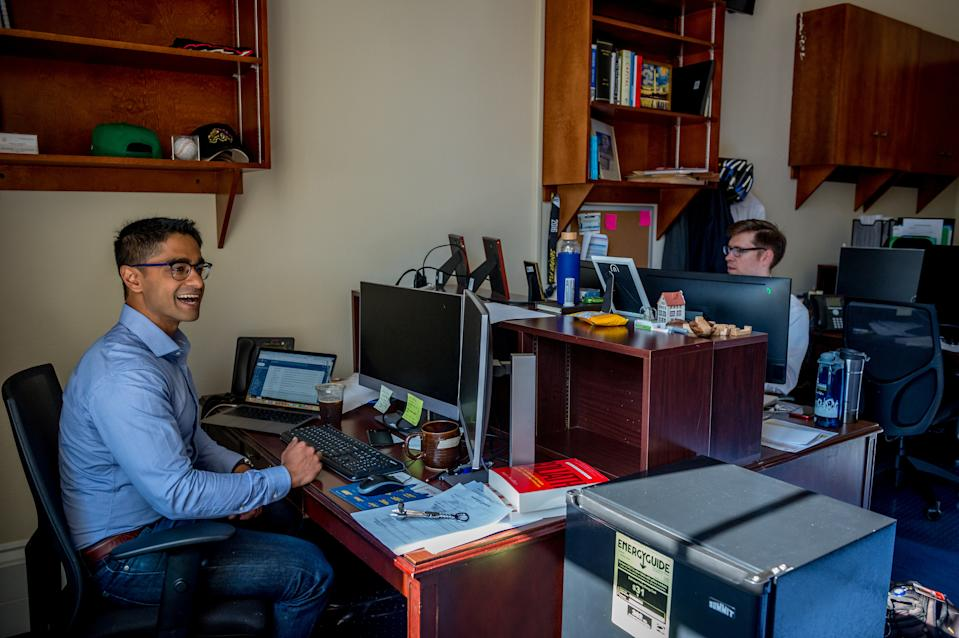 Saikat Chakrabarti, Chief of Staff for Rep. Alexandria Ocasio-Cortez, D-NY works with staff in his office in the Cannon House Office Building on June 26, 2019 in Washington, DC.  (Mary F. Calvert For The Washington Post via Getty Images)
