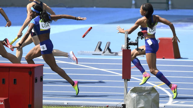 "<p>The United States women's 4×100-meter relay team crossed the finish line last in its qualifying heat at the 2016 Olympics after the baton exchange between <a href=""http://sports.yahoo.com/olympics/rio-2016/a/1127176/"" data-ylk=""slk:Allyson Felix"" class=""link rapid-noclick-resp"">Allyson Felix</a> and <a href=""http://sports.yahoo.com/olympics/rio-2016/a/1127207/"" data-ylk=""slk:English Gardner"" class=""link rapid-noclick-resp"">English Gardner</a> was impeded by a runner in an adjacent lane. Felix was set to hand off to Gardner for the third leg of the relay when Felix appeared to make contact with Brazilian runner <a href=""http://sports.yahoo.com/olympics/rio-2016/a/1217772/"" data-ylk=""slk:Kauiza Venancio"" class=""link rapid-noclick-resp"">Kauiza Venancio</a> in the lane to her right. Felix, slowed by the contact, grimaced, and lunged to get the baton to Gardner, but couldn't reach Gardner's outstretched hand. Felix threw the baton out of desperation, and it tumbled to the track. The U.S. <a href=""http://sports.yahoo.com/news/u-s-files-protest-on-botched-handoff-in-womens-4x100-relay-qualifying-152213417.html"" data-ylk=""slk:filed a protest;outcm:mb_qualified_link;_E:mb_qualified_link;ct:story;"" class=""link rapid-noclick-resp yahoo-link"">filed a protest</a> immediately after the race, and the <a href=""https://twitter.com/iaaforg/status/766296431040888832"" rel=""nofollow noopener"" target=""_blank"" data-ylk=""slk:protest was successful"" class=""link rapid-noclick-resp"">protest was successful</a>. (REUTERS/Dylan Martinez) </p>"