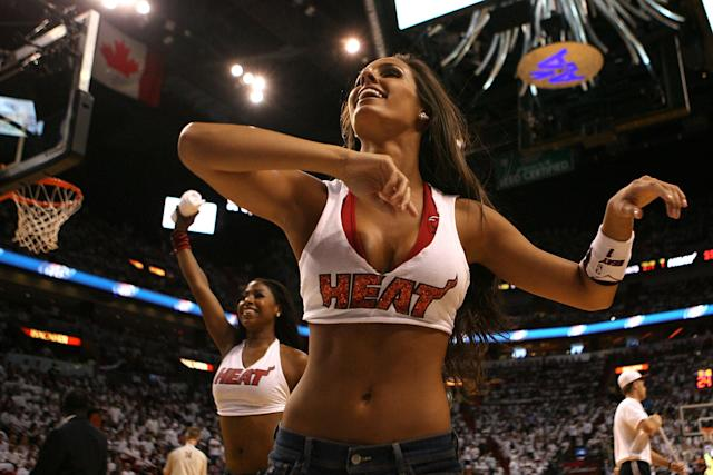 MIAMI, FL - MAY 24: A dancer from the Miami Heat performs against the Chicago Bulls in Game Four of the Eastern Conference Finals during the 2011 NBA Playoffs on May 24, 2011 at American Airlines Arena in Miami, Florida. NOTE TO USER: User expressly acknowledges and agrees that, by downloading and or using this photograph, User is consenting to the terms and conditions of the Getty Images License Agreement. (Photo by Marc Serota/Getty Images)