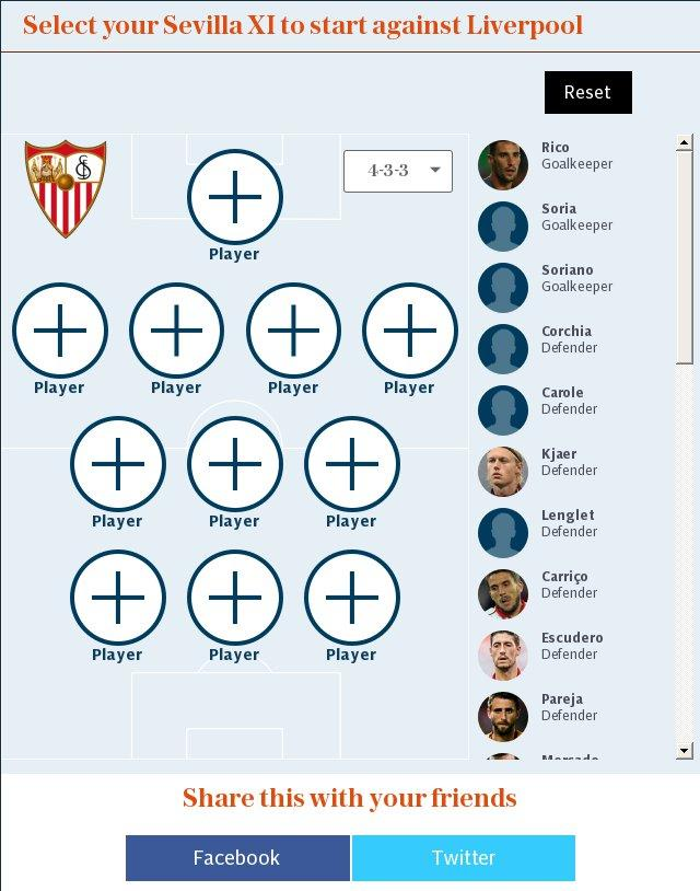 Select your Sevilla XI to start against Liverpool