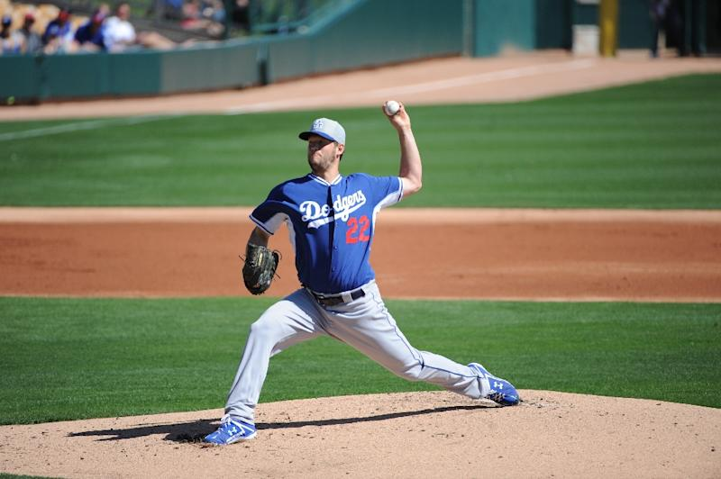 Los Angeles Dodgers hurler Clayton Kershaw, pictured March 5, 2015, was struck in the jaw by a line drive off the broken bat of Oakland's Andy Parrino in a spring training game