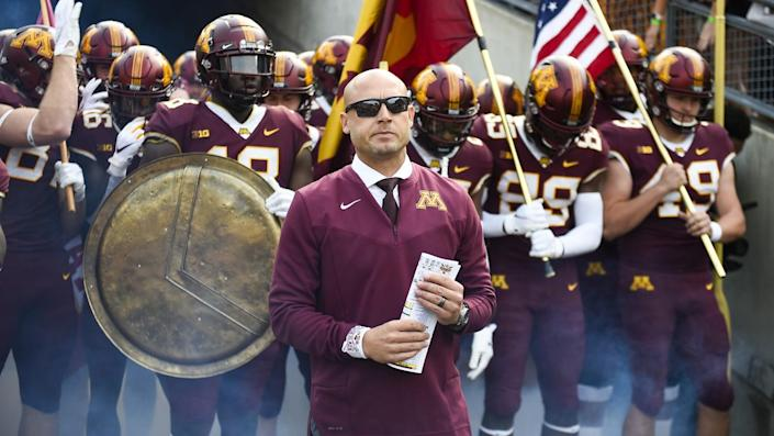 Minnesota coach P.J. Fleck waits to take the field before a game against Miami of Ohio on Sept. 11.