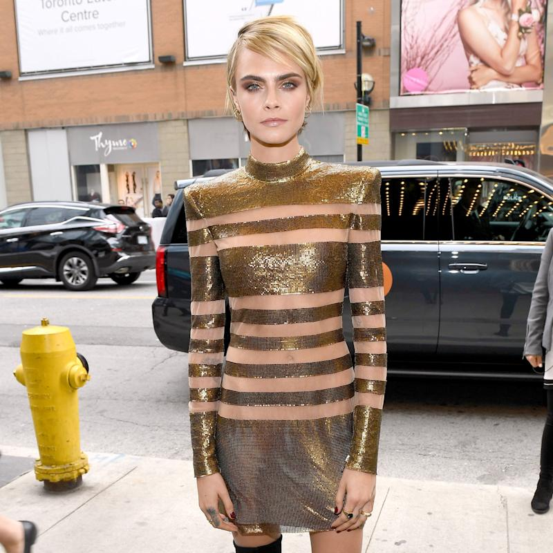 Cara Delevingnes All Gold Glamour Steals The Spotlight At