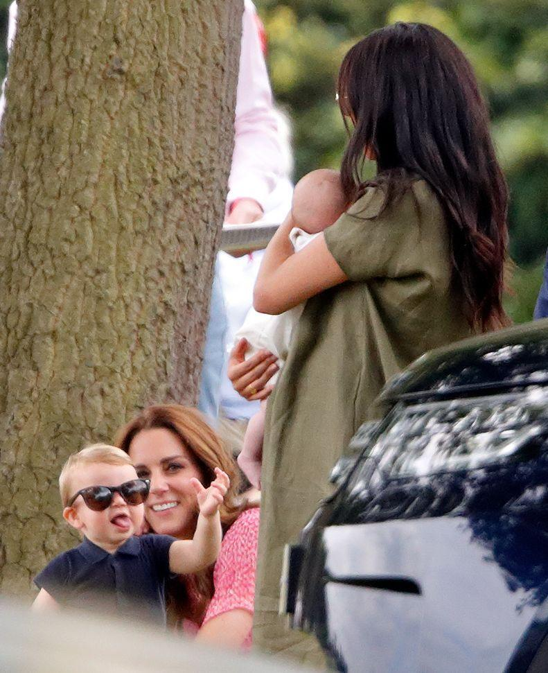<p>That same day, Louis was spotted playing with his new cousin Archie, and sporting some stylish shades.</p>