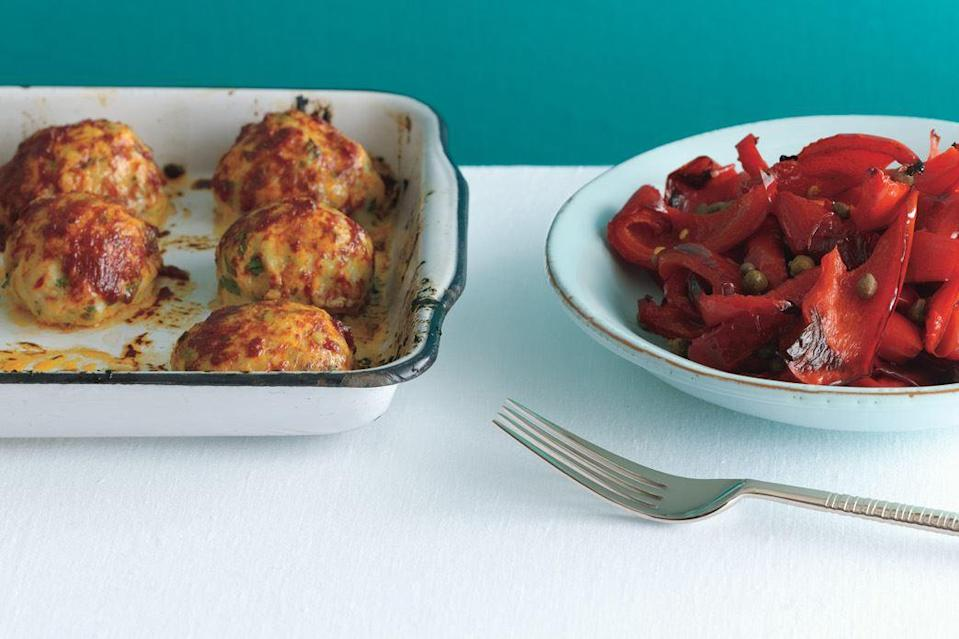"""Stirring a bit of crispy pancetta into the ground chicken amps up the flavor of these tender meatballs. <a href=""""https://www.epicurious.com/recipes/food/views/baked-chicken-meatballs-with-peperonata-354471?mbid=synd_yahoo_rss"""" rel=""""nofollow noopener"""" target=""""_blank"""" data-ylk=""""slk:See recipe."""" class=""""link rapid-noclick-resp"""">See recipe.</a>"""
